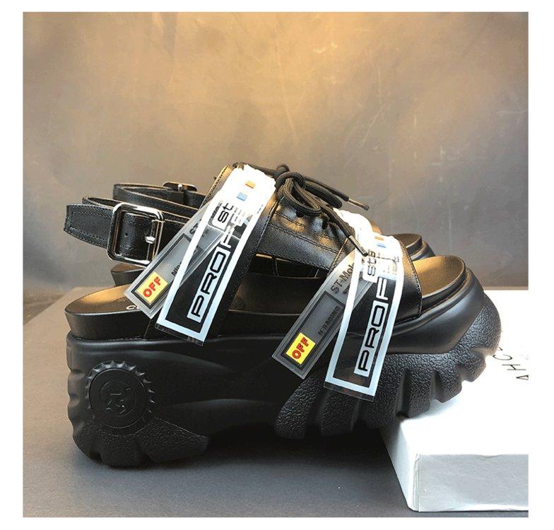 HTB1r2kFOMHqK1RjSZJnq6zNLpXaR 2019 Summer Chunky Sandals Women 8cm Wedge High Heels Shoes Female Buckle Platform Leather Casual Summer Slippers Woman Sandal