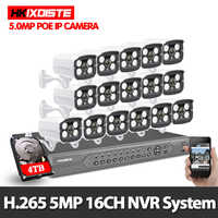 H.265 16CH 4K 5MP POE NVR System 16PCS 5MP 2592X1944 Outdoor IP Camera Waterproof P2P onvif CCTV Video Security Surveillance kit