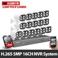 H.265 16CH 4K 5MP POE NVR sistema 16 piezas 5MP 2592X1944 cámara IP al aire libre impermeable P2P onvif kit de vigilancia de seguridad de vídeo CCTV