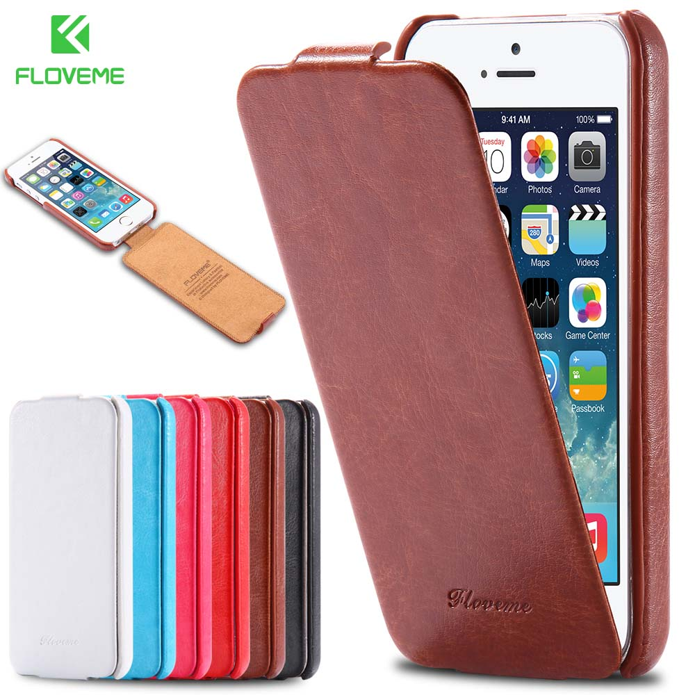 floveme for iphone 5 5s se case retro crazy horse pu leather vertical flip phone case for iphone. Black Bedroom Furniture Sets. Home Design Ideas
