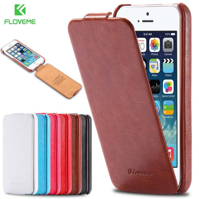 best authentic 84b31 3f16a US $3.69 20% OFF|FLOVEME For iPhone 5 5S SE Case Retro Crazy Horse PU  Leather Vertical Flip Phone Case For iPhone 5 5S SE Full Coverage Cover  Bag-in ...
