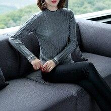 Half turtleneck long sleeve pullovers sweater 2018 new elastic knit women autumn basic