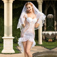 MQUPIN Perspective Sexy Lingerie Bridal Outfit White Glamorous Wedding Dress Plays Women Lace Sexy Lingerie Hot Dress Erotic