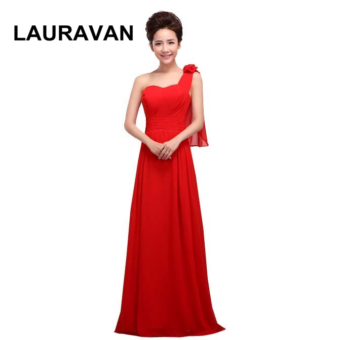 Vestido De Renda Formal Yellow Red Blue Bridesmaid Gowns Dresses Formales New Fashion New 2019 Long One Shoulder Dress To Party