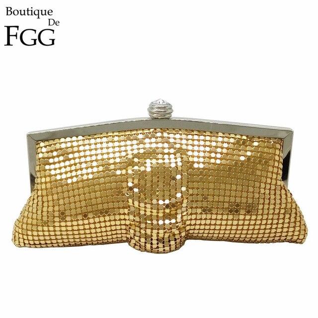 Amazing Bling Women Small Golden Aluminum Sheet Evening Wedding Party Prom Handbag Clutch Bag Metal Frame Banquet Clutches