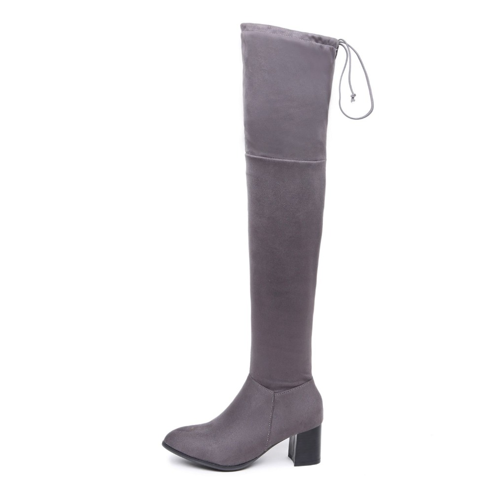 2016 Brand New Sexy Women Nude Thigh High Boots Red Gray Lady Over the Knee Riding Shoes Chunky Heel ETF1 Plus Big size 32 46 10 women over the knee boots black velvet long boots ladies high heel boots sexy winter shoes chunky heel thigh high boots