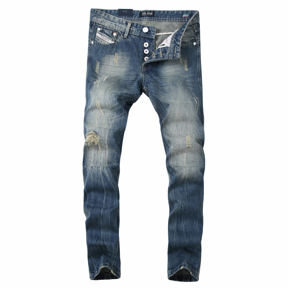 где купить Streetwear Straight Denim Big Ripped Jeans Tousers Blue Color Mens Hole Jeans Designer Logo Brand Dsel Jeans Men 29-40 по лучшей цене