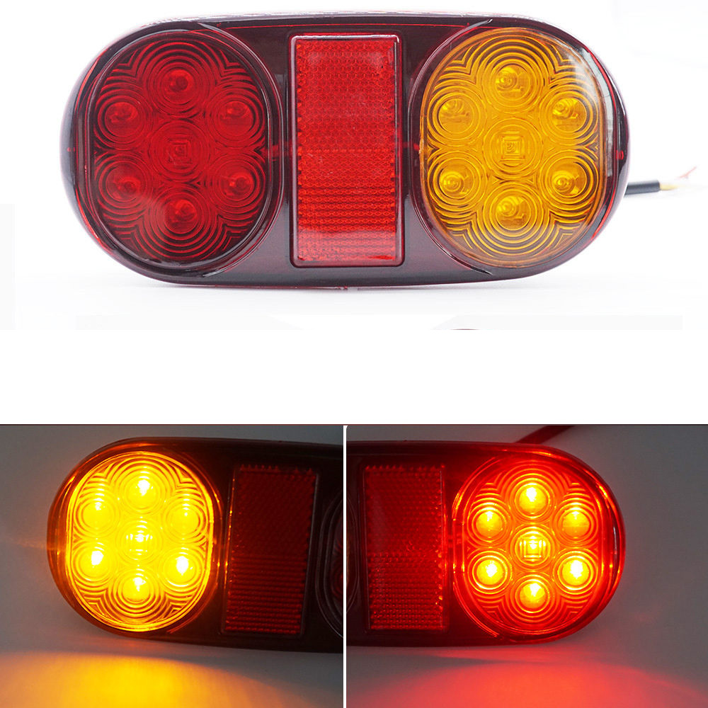 2PCS 14 LED 24V Truck Trailer Boat Caravan Car Rear Tail Light Brake  Taillight Red Yellow Stop Lamp Warning Indicator 14LED