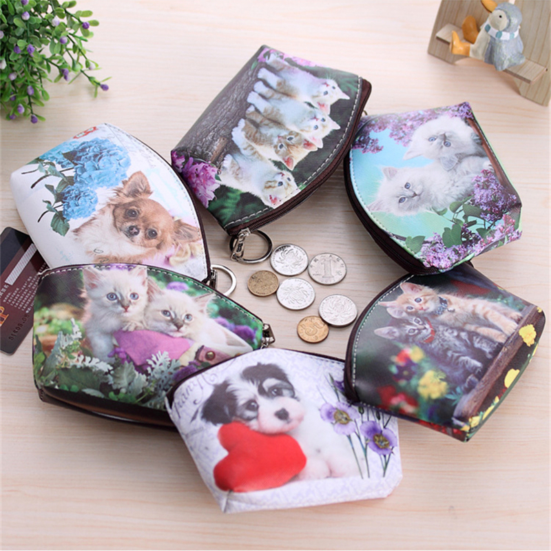 PACGOTH cute mini pu leather Coin Purse animal prints kawaii dog cat meow causal Style Simple portable cash money bags 1 PC