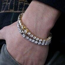 3 мм-6 мм мужские/женские AAA + кубический цирконий Теннисный браслет хип-хоп ювелирные изделия Iced Out 1 Ряд Золотой CZ талисманы браслет для подарков