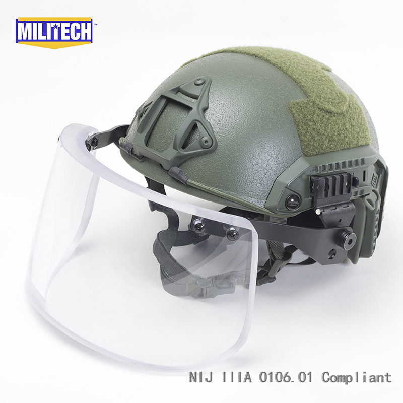 MILITECH Oliver Drab Maritime Cut Deluxe NIJ IIIA FAST Bulletproof Helmet and Visor Set Deal Ballistic Helmet Bullet Proof Mask projector lamp bulb rlc 055 rlc055 for viewsonic pjd5352 pjd5122 pjd5152 with housing