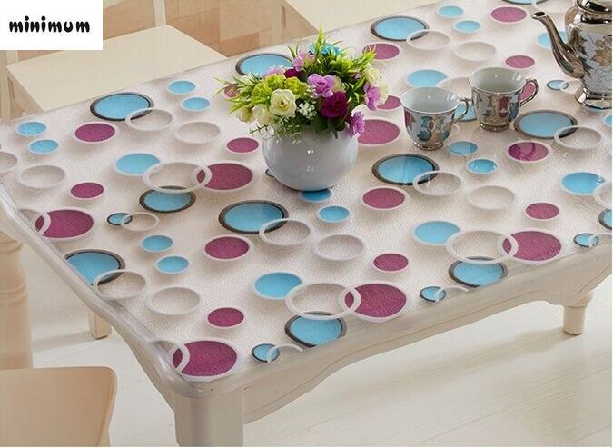 2017 3D pvc nappe étanche résistant à l'huile table Basse nappe PVC verre doux Moderne transparent plaque de cristal de Table tapis