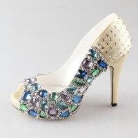 Handmade light gold crystal open peep toe heel bridal shoes hand sewn rhinestone pumps wedding party prom bridal dress shoes