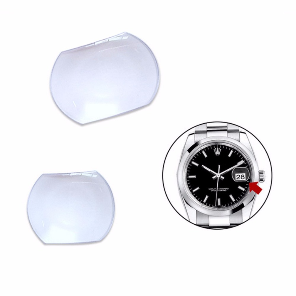 Shellhard  1pc Sapphire Bubble Magnifier Lens  Suitable For Date Window Watch Crystal Glass 2 Sizes Watch Crystal Magnifier
