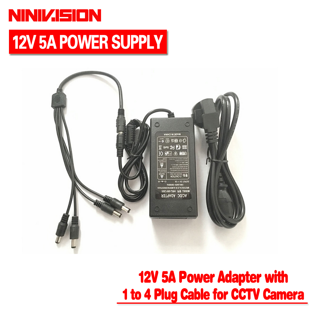 NINIVISION 12V 5A 4 Port CCTV Camera AC Adapter Power Supply Box For The CCTV Camera