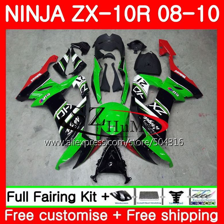 Bodywork For KAWASAKI green black NINJA ZX 10 R ZX10R ZX1000C 18SH20 ZX 10R 08 09 10 ZX1000 ZX-10R 2008 2009 2010 Fairings kit
