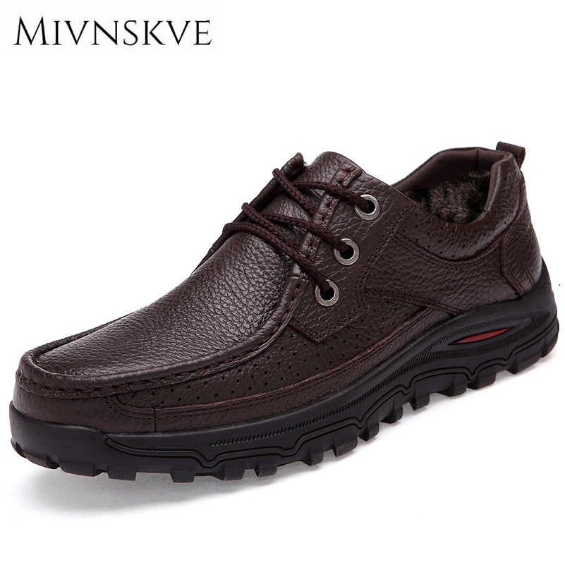 MIVNSKVE Genuine Leather Fashion Men Shoes Handmade Fur Plush Warm Winter Brand High Quality Men Flats Shoes Plus Size 38-48 top brand high quality genuine leather casual men shoes cow suede comfortable loafers soft breathable shoes men flats warm