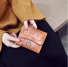 Ladies New Short Purse Retro Burnished Cowhide Women Korean Style Cutout Bag Fashion Simple Small Cheap Tri-fold Money Clip