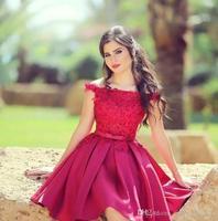 Новое поступление 2018 по колено красное домашнее платье 2018 с открытыми плечами кружево аппликации Пром платья для вечеринок vestidos,
