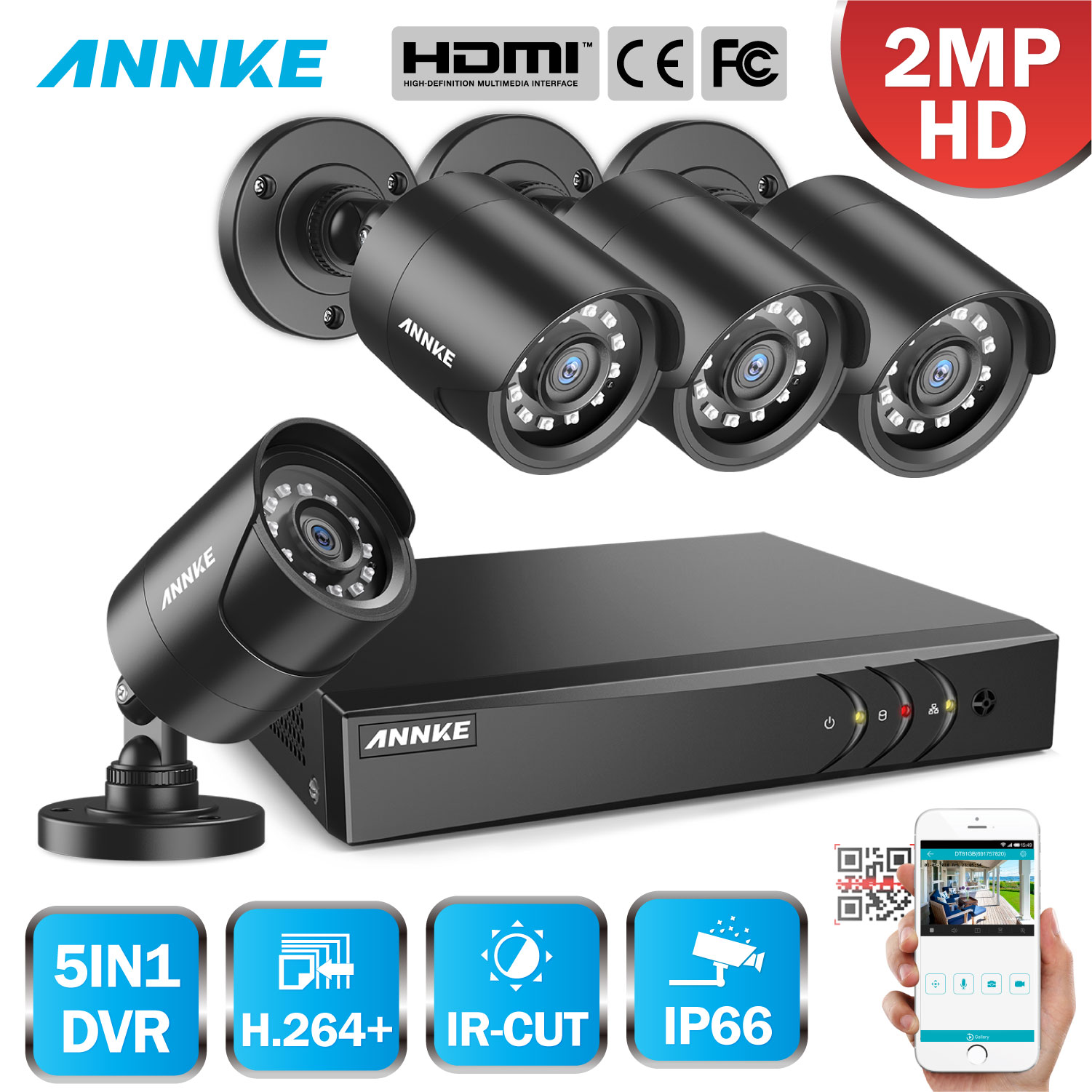 ANNKE 1080P CCTV Camera DVR System 4pcs Waterproof 2.0MP HD TVI Bullet Cameras Home Video Surveillance Kit Motion Detection-in Surveillance System from Security & Protection    1