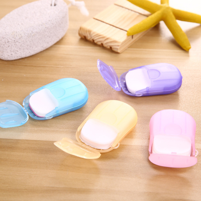 Outdoor Travel Soap Paper Washing Hand Bathing Clean Scented Slice Sheets 20pcs Disposable Boxe Soap Portable Mini Paper Soap 3