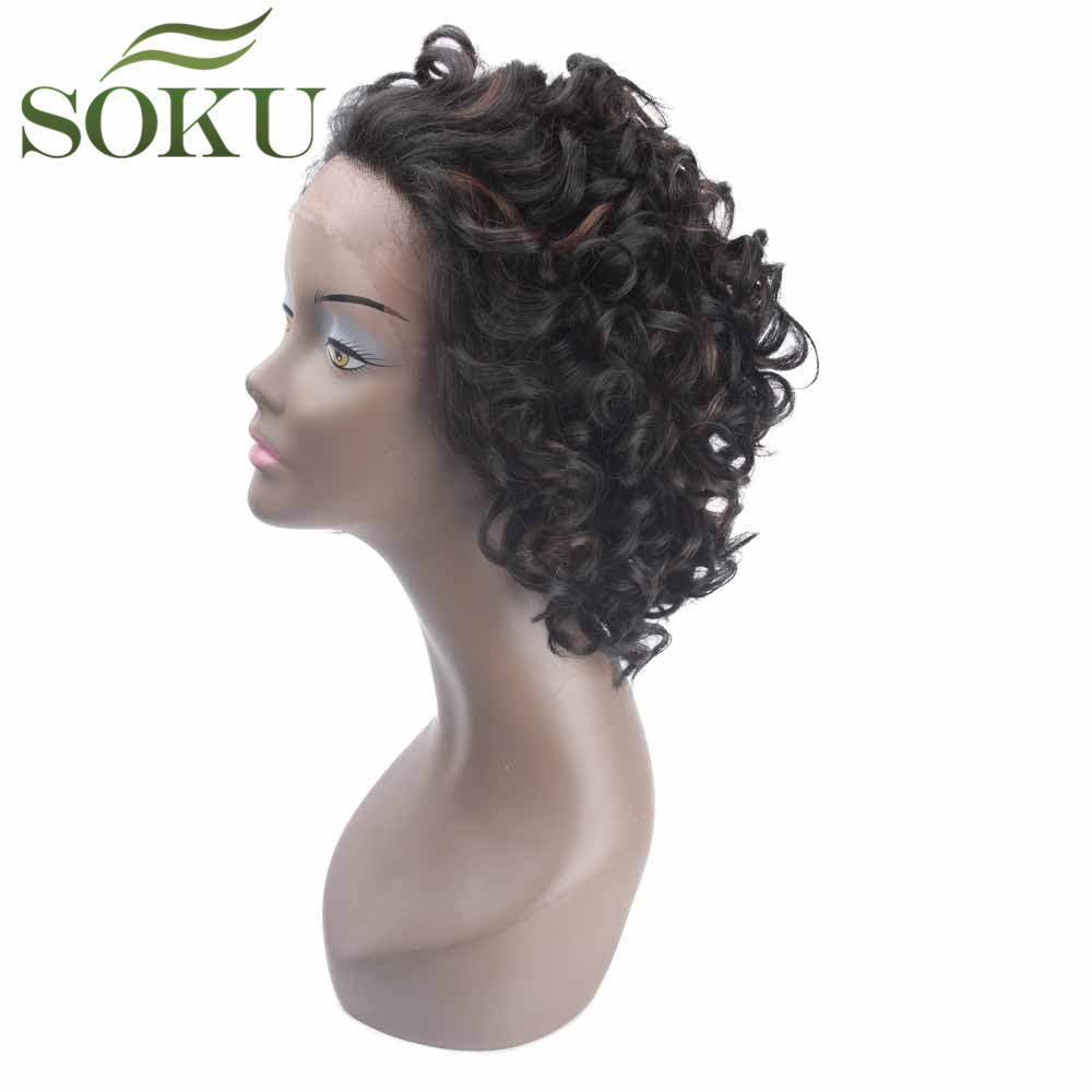 SOKU Wigs Short Curly Lace-Front Kinky Synthetic Heat-Resistant Glueless Black Middle-Brown