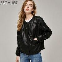 2017 Autumn Leather Jacket Women Casual Long Sleeve Button Slim Coat Fashion PU Leather Bomber Jacket