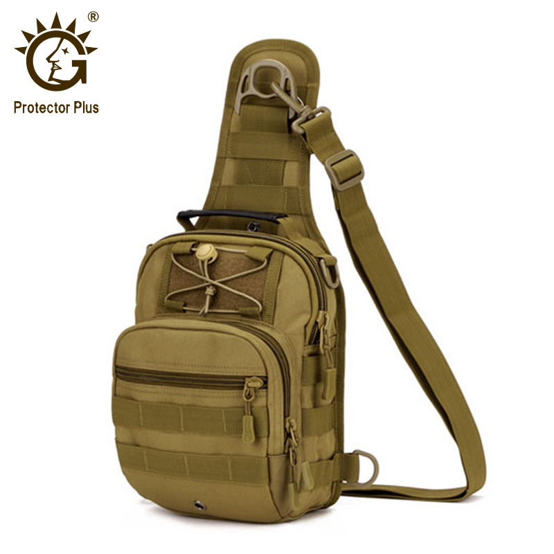 цена на Protector Plus Nylon Shoulder Messenger Bag Waterproof Military Tactical Backpack Men's Chest Bag Outdoor Molle Hand Bag 4 Color