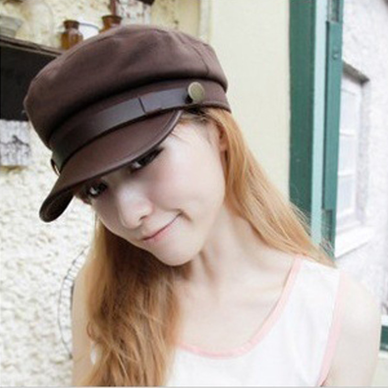 Korean Fashion Spring Summer Women Leather Buckle Flat-top Sun Hat Baseball Cap Snapback Hat LJ032 cowboy hat cap cap flat top hat lace rhinestone flower hooded fashion tide cap cap riding hood