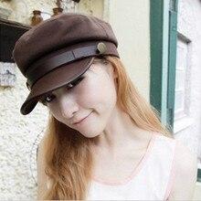 Korean Fashion Spring Summer Women Leather Buckle Flat top Sun Hat Baseball Cap Snapback Hat LJ032