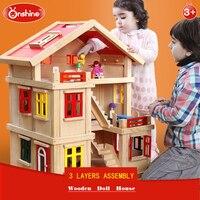 ONSHINE Кукольный дом с мебель ручной работы деревянный дом diy подарки на день рождения 3D Пазлы для взрослых и любителей дом мечты детей