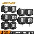 """Auxmart Fichas CREE 30 W Flood/Spot Led Trabalho Light 12 V 24 V 5D 4 """"4WD ATV UTV Truck fog lâmpada Luz de condução Offroad 4x4 Levou Luz"""