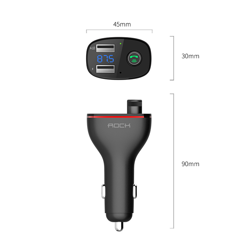 ROCK B300 Bluetooth FM Transmitter 4.2 USB Car Charger Digital Aluminium Alloy Fast quick Charging Monitoring For iPhone Samsung