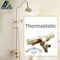 Luxury Golden Thermostatic Shower Set Dual Handle Constant Temperature 8 Rainfall Bath Shower Mixer Taps