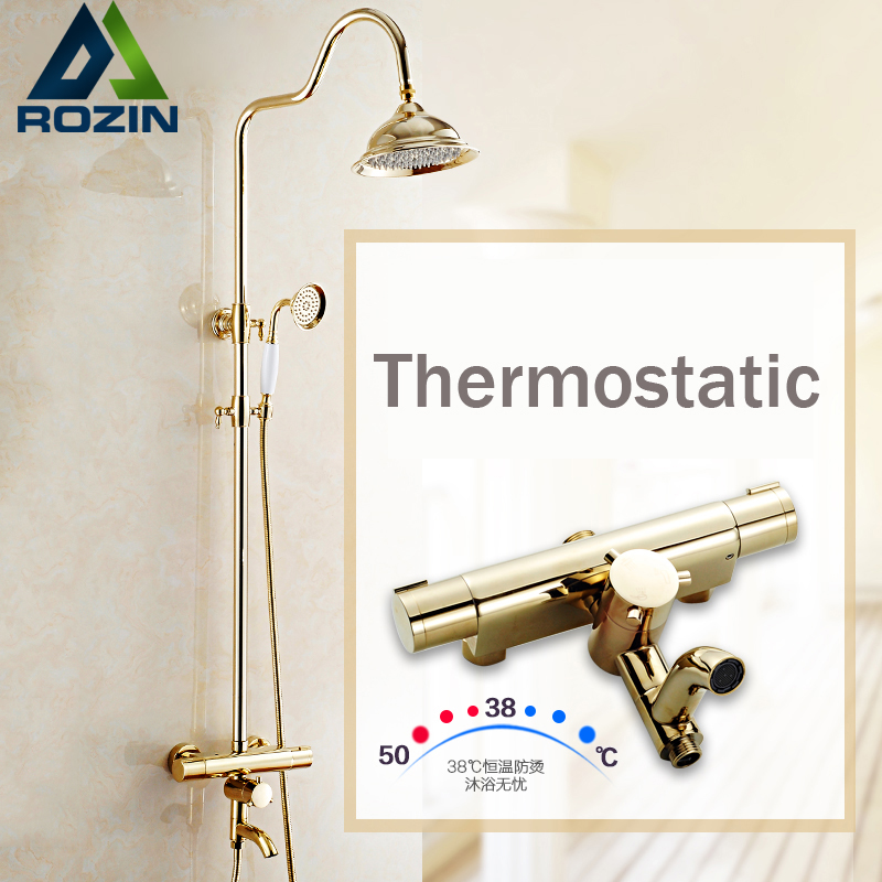 Luxury Golden Thermostatic Shower Set Dual Handle Constant Temperature 8 Rainfall Bath Shower Mixer Taps luxury in wall shower faucet with thermostatic mixer valve chrome 8 rainfall bath shower mixer taps