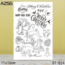 AZSG Merry Christmas Santa Claus Clear Stamps For DIY Scrapbooking/Card Making/Album Decorative Silicone Stamp Crafts