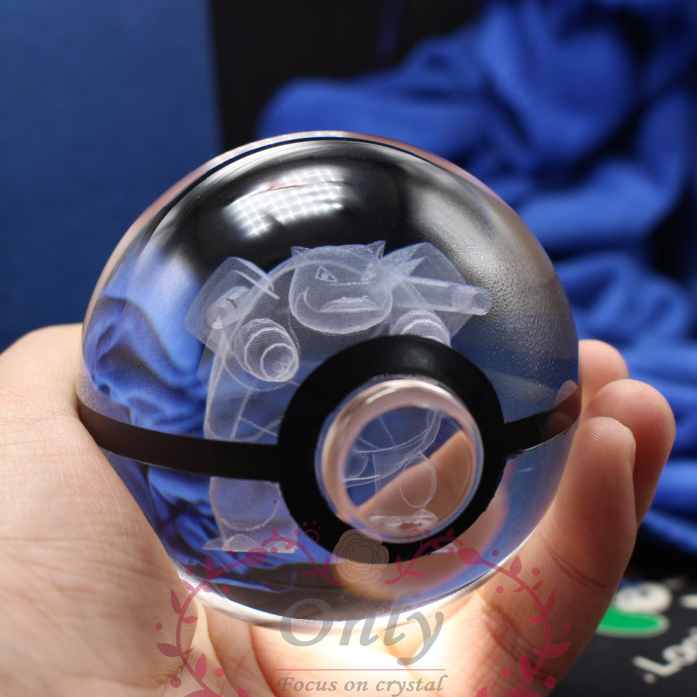 Free Shipping Hot selling New Design Pokemon go Trainer Ball Crystal Glass 3D laser magic ball for kids gifts