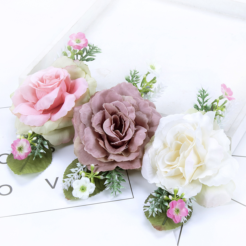 AWAYTR Lovely Hair Clips With Cloth Flower Pink Color Hairpins for Girls Barrettes Photography Headwear Hair Accessories 1pc luxury women girls crystal hair clips opal leaf resin flower hairpins headwear jewelry elegant barrettes hair accessories