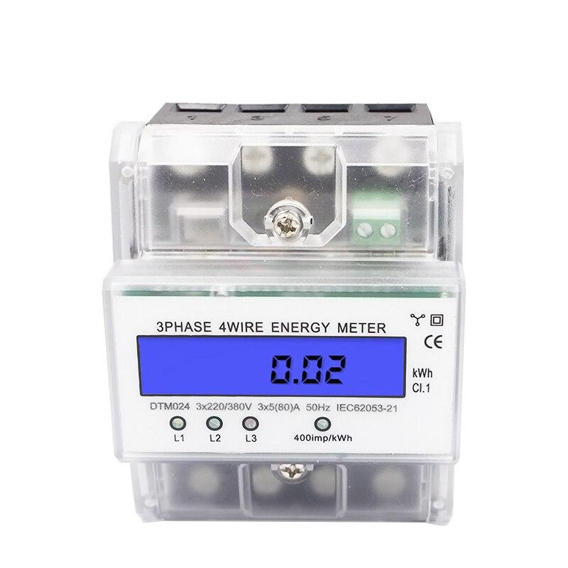 LCD rétro-éclairage trois-phase guide de puissance mètre wattmètre Kwh 220 V 230 V 380 V 5-100A 50 HZ 60 HZ 3 * AC220/380 V 3 * AC230/100 V