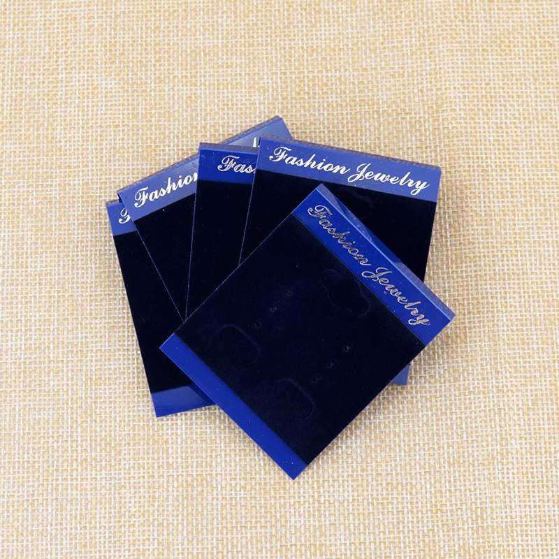 500pcs Dark Blue Plastic Velvet Jewelry Earring Display Cards 5 6cm Jewelry Price Tags For Earring