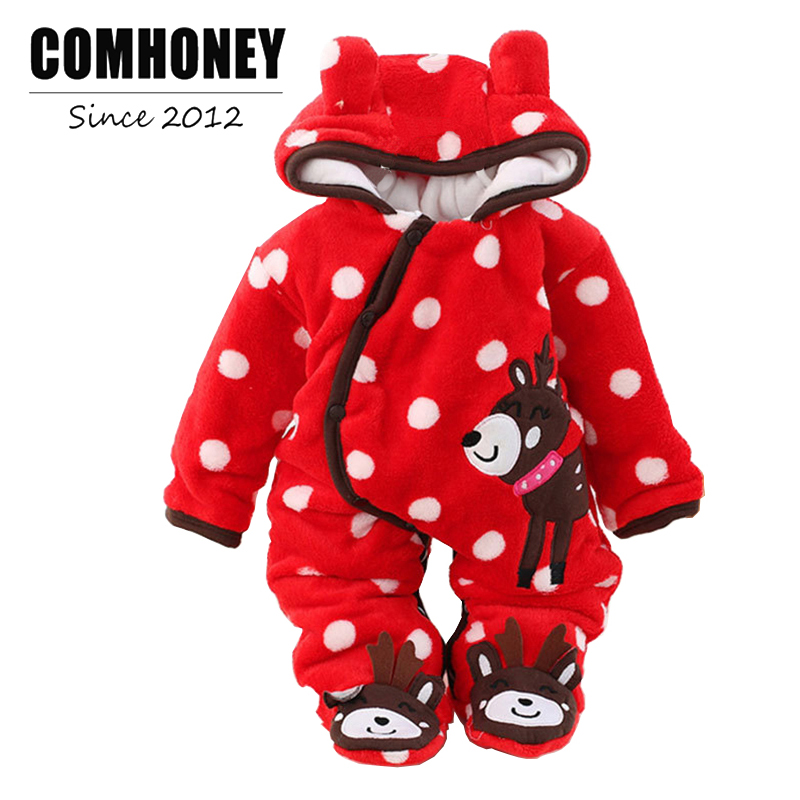 Baby Winter Rompers for Newborn Warm Jumpsuit Cartoon Polka Dot Infant Bebe Overcoat Toddle Boys Girls Overalls Kids Clothes new brand baby clothes infant rompers hooded cartoon bear girls long sleeve baby jumpsuit newborn cotton soft warm boys product