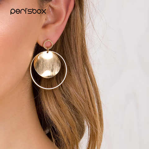 874c46f8af438 Pk Bazaar bohemia big earring peri'sbox gold color round disc circle ...