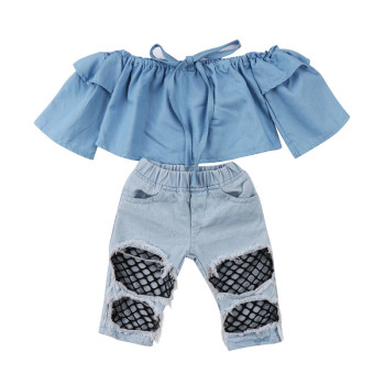 Toddler Infant Kids Baby Girls Clothes Set Off Shoulder Tops Fashion Net Denim Holes Pants Hole Jeans Kids Baby Gilrs Outfit Set
