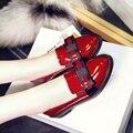 Красное вино Черный Теплые Лакированной Кожи Круглый Носок Низкие Толстые Каблуки Весна Новые Моды Красивых Женщин Синглов Обувь С Бантом
