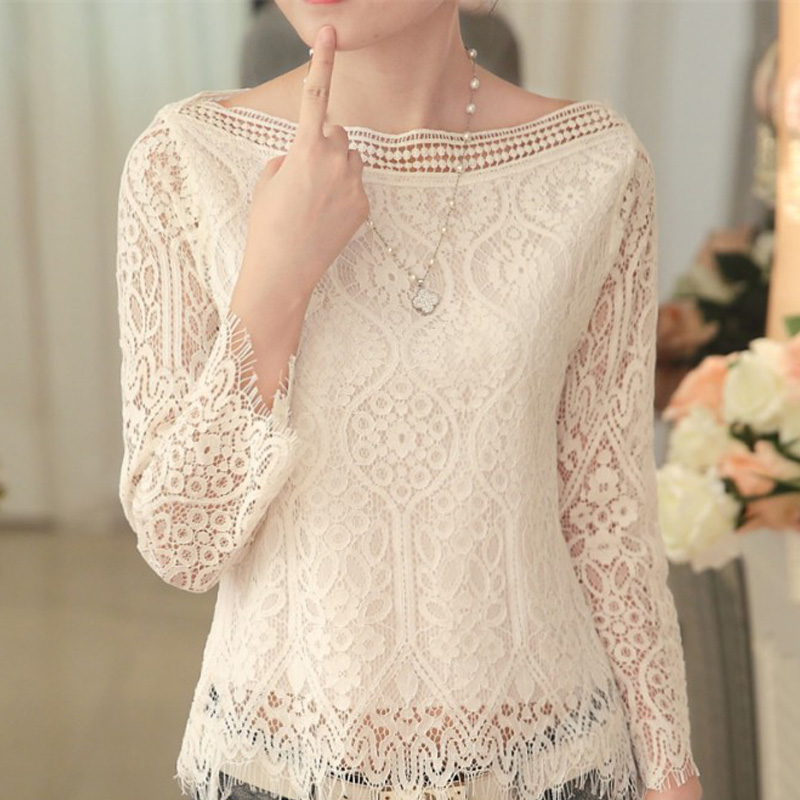 Mujeres otoño moda encaje blanco blusa 2016 moda sexy manga larga ...