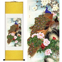 Chinese Silk Watercolor Flower And Birds Peacock Phoenix Peony Ink Feng Shui Canvas Wall Picture Scroll
