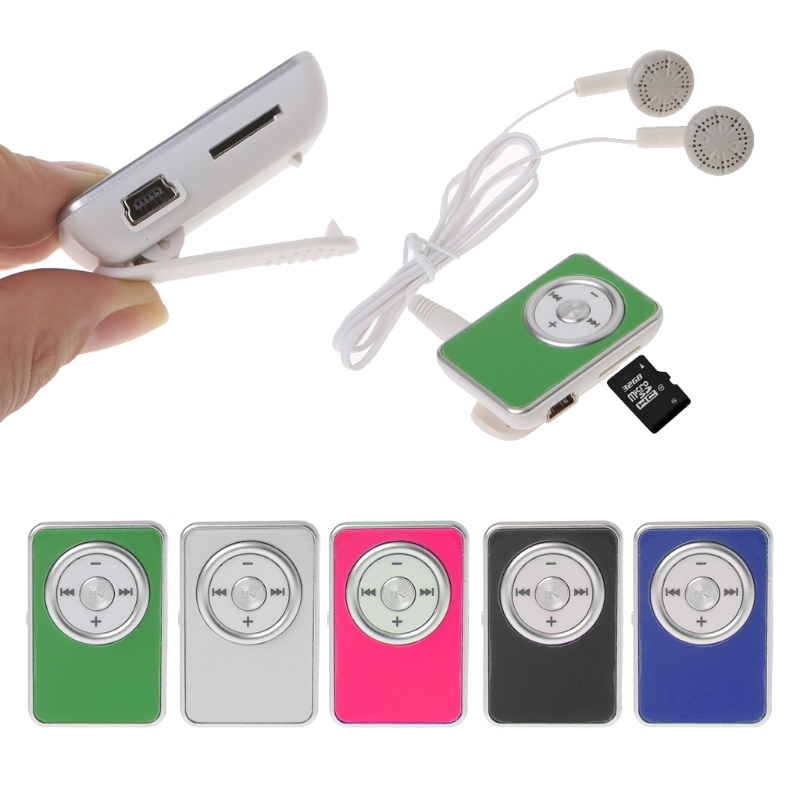 OOTDTY Mini Clip Music Media MP3 Player Support TF Micro SD Card With Earphone USB Cable