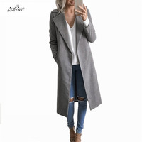 Khaki Winter Warm Coat Women Cardigan Woolen Coat Long Women's Slim Outerwear European Fashion Jacket Outerwear For Women