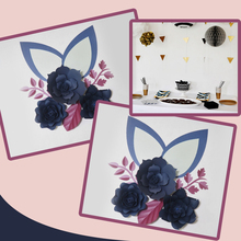Cardstock Dark Blue DIY Paper Flowers Leaves Ears Set For Wedding Event Backdrops Decorations Nursery Wall Deco Video Tutorials
