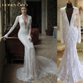 2017 Berta Mermaid Lace Wedding Dresses With Long Sleeves Real Photos Sheer Deep V-Neck Court Train Princess Bridal Gowns